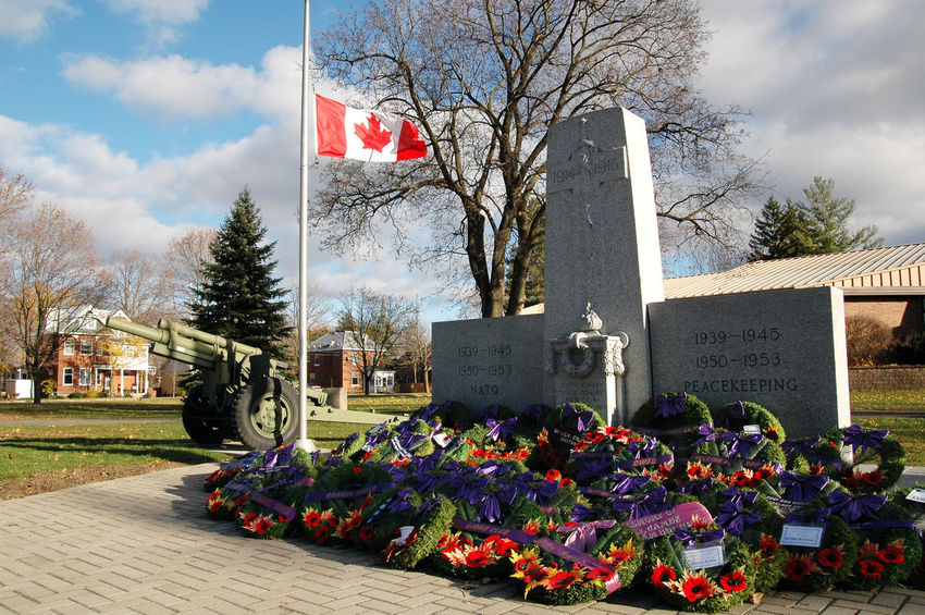 Beautiful Blue Sky Canada Canadian Carleton Place Day EyeEm Fallen Soldiers Flag Flags Focus On Foreground Half Mast Important Memorable No People Outdoor Outdoors Park Park Bench Photo Photography Remembrance Remembrance Day Town Wreath