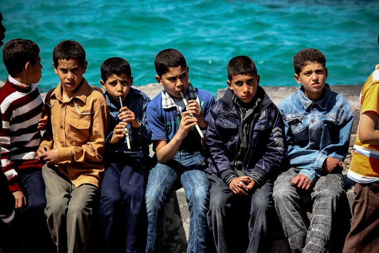Egypt Friend Friendship Kids Looking Love Sea Sitting
