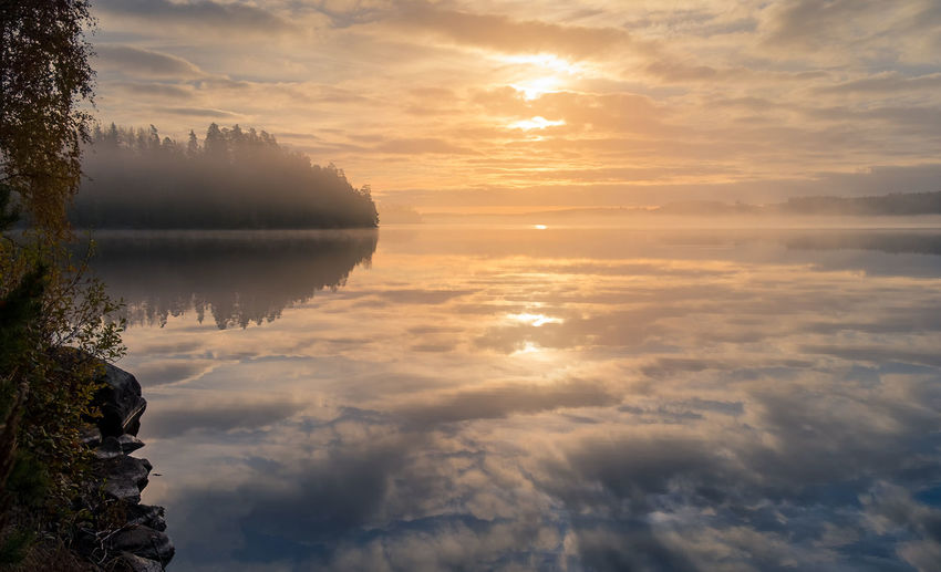 Scenic landscape from the lake Atmosphere Atmospheric Mood Beauty In Nature Fog Foggy Forest Horizon Over Water Idyllic Lake Landscape Mist Misty Morning Light Nature Outdoors Reflection Scenics Sky Sun Sunbeam Sunlight Sunrise Sunset Tranquility Water