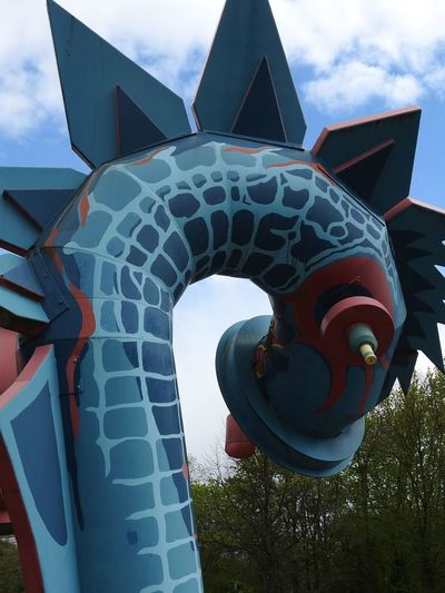 Nessi Family. Close to Volksgarten Park. Aeration tubes for sewage drain. Close-up Cloud Dragon No People Outdoors Pastel Colors Pastel Power Skulptur Sky