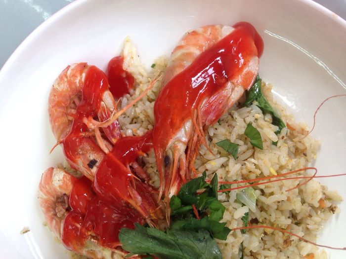 Prawn Chinese Fried Rice. Food And Drink Freshness Food Ready-to-eat Plate Red Tomato Healthy Eating High Angle View Indoors  Close-up No People Lobster Day Hungry Eat Lunch Asian  Carbs Carbohydrates Rice Chinese Food Fried Rice Layflat