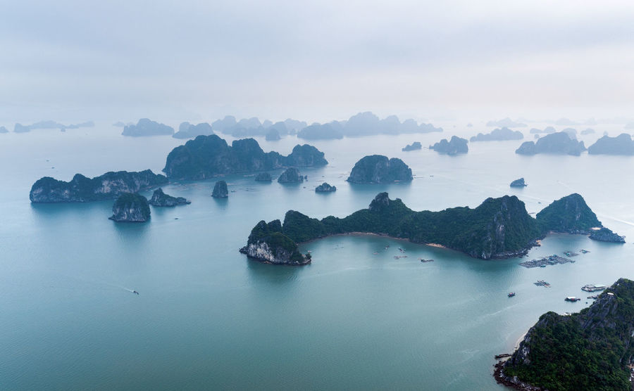 Bai Tu Long Bay Ha Long Beauty In Nature Day Fog Ha Long Bay Nature No People Outdoors Rock - Object Scenics Sea Sky Tranquil Scene Tranquility Water Perspectives On Nature