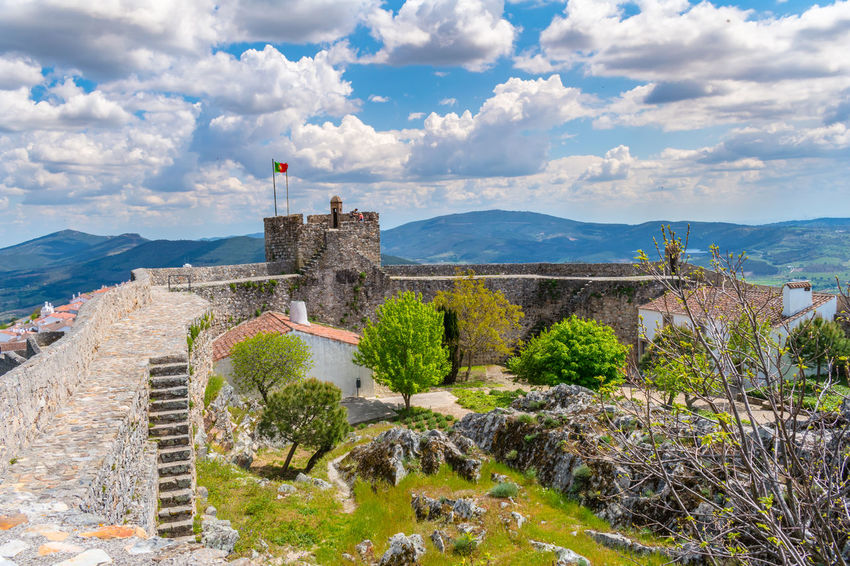 castelo de Marvão Ancient Architecture Beauty In Nature Building Exterior Built Structure Cloud - Sky Day Flag History Mountain Nature No People Outdoors Patriotism Plant Scenics - Nature Sky The Past Travel Travel Destinations Tree