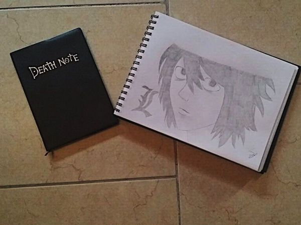 Scenics Art Is Everywhere Manga Anime Draw Art ArtWork Art And Craft Death Note Picture High Angle View Indoors  Communication Table No People Envelope Close-up Day Paper Pencil Drawing Pencil Boy Out Of The Box