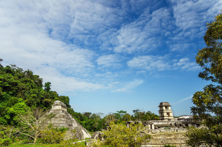 Temple of Inscriptions and the palace in the Mayan ruins of Palenque in southern Mexico America Ancient Archeology Beautiful BIG Building Chiapas Chiapas, México Forest Heritage History Jungle Landscape Maya Mayan Mexico Old Palenque Pyramid Religion Ruin Stairs Stone Temple Unesco