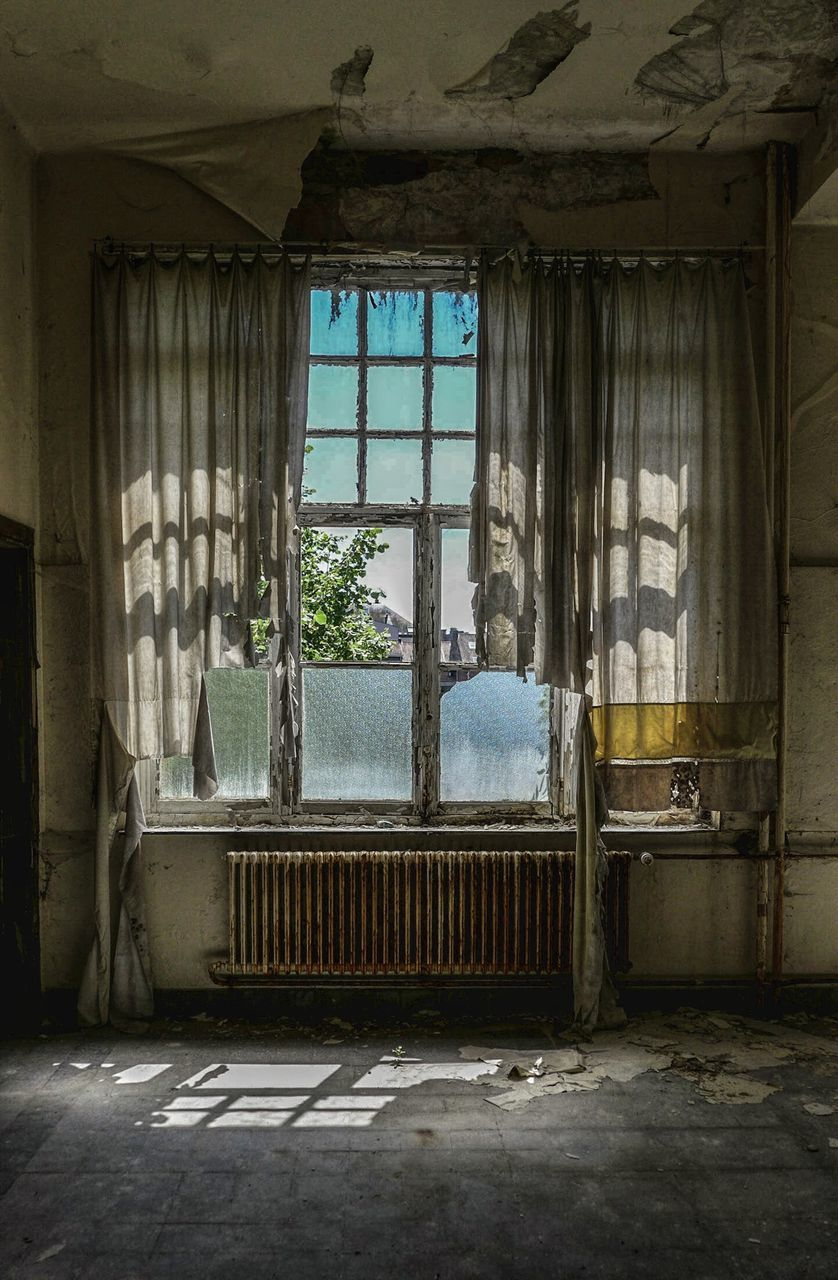 window, architecture, abandoned, building, built structure, day, no people, house, old, indoors, obsolete, damaged, run-down, weathered, domestic room, absence, bad condition, deterioration, decline, messy, ruined