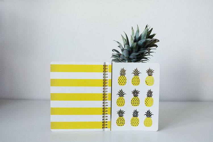 I pineapple. Do you pineapple? Yellow Indoors  No People Plant Green Color Growth Studio Shot White Background Potted Plant Still Life Wall - Building Feature Nature Side By Side Arrangement Creativity Pineapple