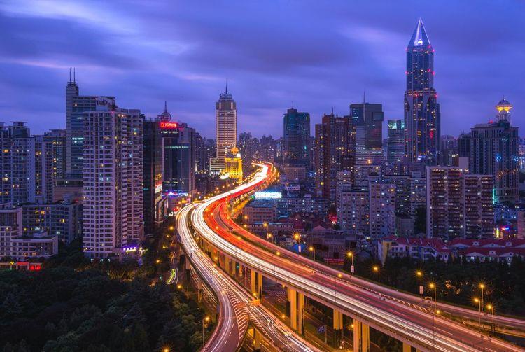 Multiple lane highway against sky
