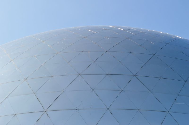 blurred lines Outdoors Travel Travel Destinations Paris Blue Blue Sky Blue Color Reflection Reflecting Modern Modern Architecture Architecture Pattern Triangle Shape Detail Sun Light Sky Sphere Built Structure Clear Sky Shape No People Nature Design Day Dome Curve Building Exterior Low Angle View Geometric Shape Metal My Best Photo The Minimalist - 2019 EyeEm Awards The Architect - 2019 EyeEm Awards