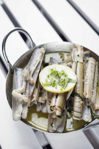 white wine garlic steamed razor clams Razor Clams Bowl Close-up Day Food Food And Drink Freshness Healthy Eating Indoors  No People Portuguese Food Ready-to-eat Vegetable White Background
