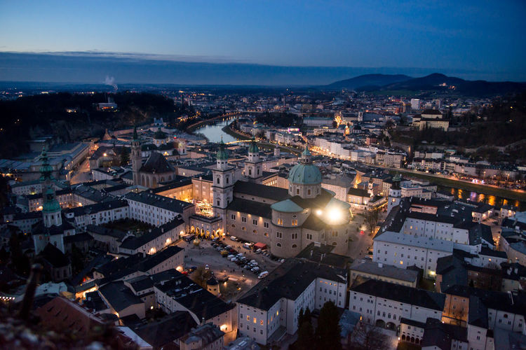 salz Architecture Building Exterior City Built Structure Cityscape Illuminated Night Building High Angle View Sky Aerial View City Life Nature No People Travel Destinations Dusk Residential District Salzburg, Austria Nightphotography