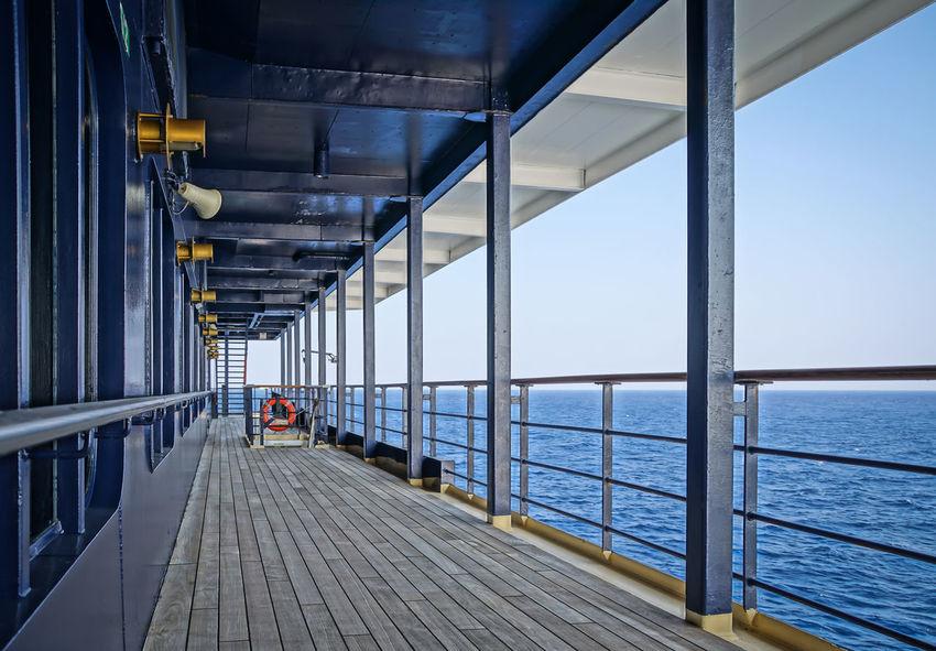 on deck ... Blue Board Cruise Cruise Ship Cruiseship Deck HDR Kreuzfahrt Kreuzfahrtschiff Ocean On Board Railing Ship Skyline Sunny Travel Travelling Wood