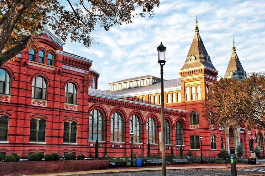 Sunrise over the Smithsonian Decorative Brick Red Brick Brick Building Historic Architecture Architecture Historic Building Smithsonian JGLowe Architecture Built Structure Tree Sky Building Exterior Day Outdoors No People Travel Destinations Red City Nature