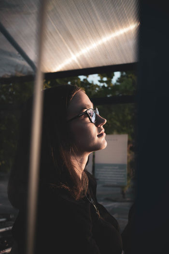 Teenage girl wearing eyeglasses