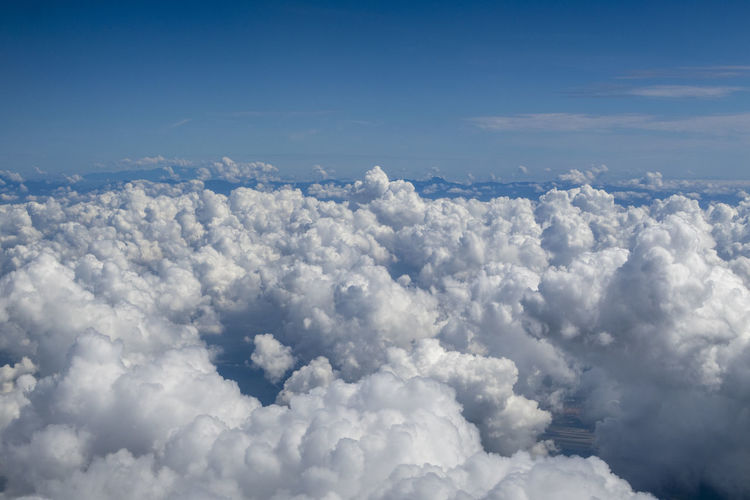 Cloud - Sky Sky Beauty In Nature Scenics - Nature No People Nature Day Cloudscape Blue Tranquility Outdoors Tranquil Scene White Color Fluffy Backgrounds Idyllic Aerial View Sunlight Environment Above Softness Meteorology Brightly Lit