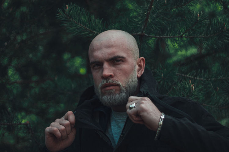 Portrait of man in park