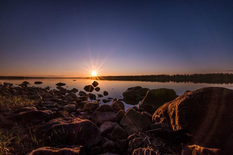 Panoramic view of lake during sunset