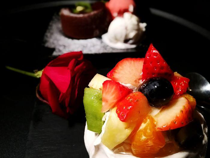 Red Rose Fruit Dessert Fruit Cake  Indulgence Romantic Romance Fruit Food Freshness Red No People Food And Drink Healthy Eating Black Background Dessert Close-up Sweet Food Gelatin Dessert Ready-to-eat