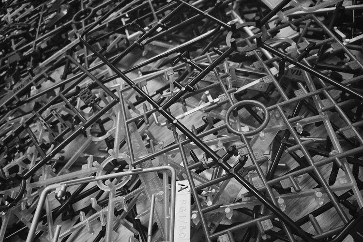 Full Frame Shot Of Plastic Grates Heap