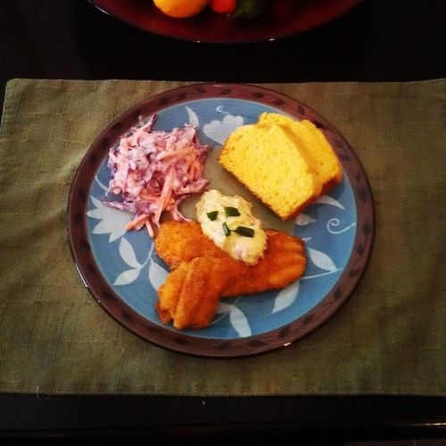 day 20, Lent Meatless cornmeal Catfish , Remoulade cornbread coleslaw all from scratch