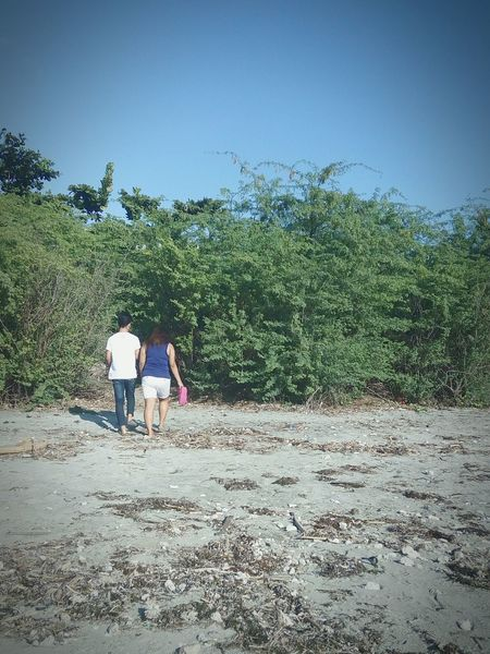 Sticksandstones Two People Full Length Rear View Outdoors Togetherness Sky Day Green Walks Beachwalks