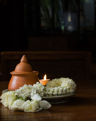 Black Candle Clay Pot Flower Freshness No People Shadow Table