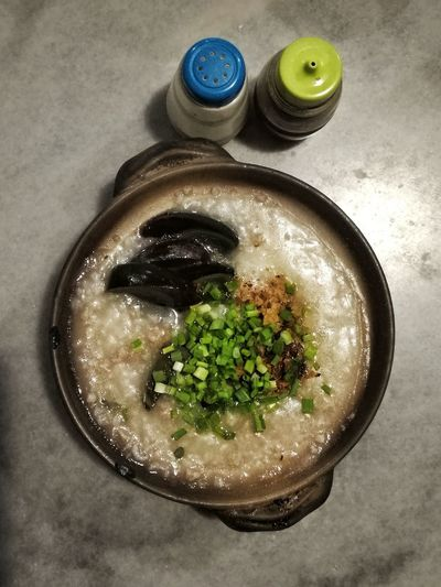 High Angle View Food Directly Above Bowl Healthy Eating Porridge Claypot Asian Food
