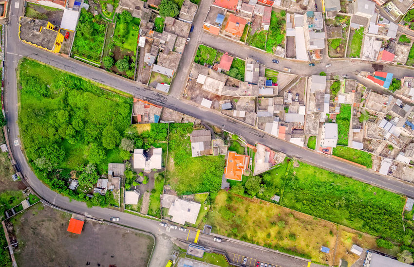 Looking Down At Banos De Agua Santa, Tungurahua Province, South America Aerial Aerial Photography Aerial View Architecture Built Structure City City Life Cityscape Connection Day Drone  Dronephotography Droneshot Grass Green Color Growth High Angle View Landscape Nature No People Outdoors Road Transportation Tree Urban Skyline
