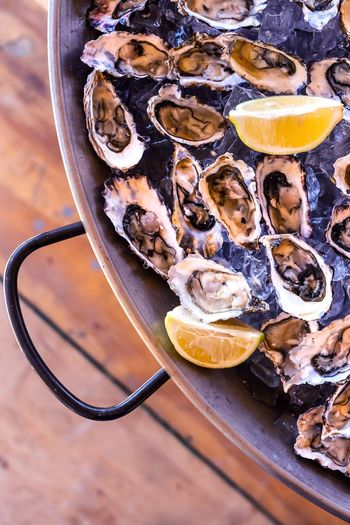 Oysters served