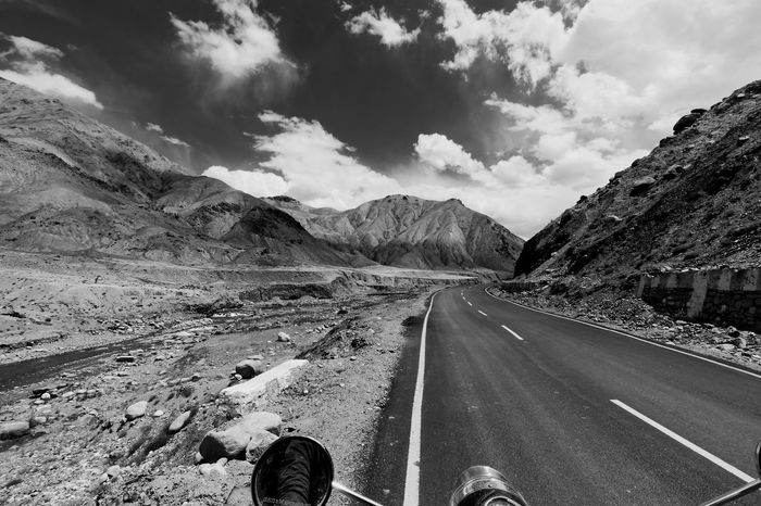 Village Gya on Manali Leh Highway of India Bike Ride Black & White DSLR Photography Highway Mountain Road Mountains And Sky On The Move On The Road Open Road