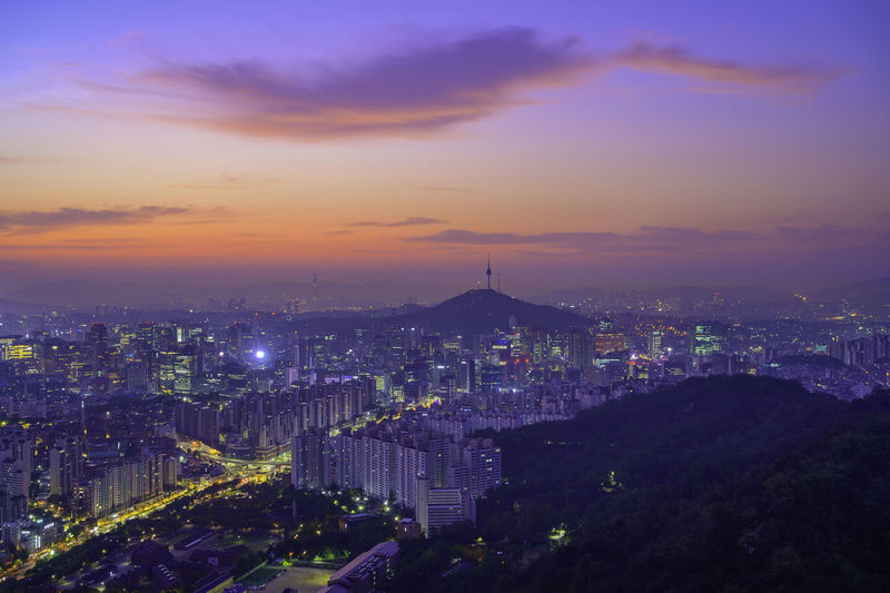 Morning korea cityscapse scenic area in seoul . the capital from ansan bongsudae mountain  in korea