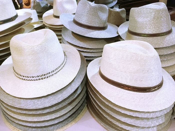 Various hats for sale at shop