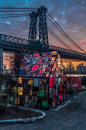 Metal structure at sunset
