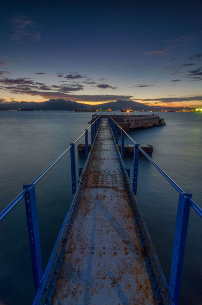 Old Harbour Beach Jetty Cloude Gold Sunset Lonly Exposere Nature Silent Twilight Sky Water Sea Sunset Sky Landscape