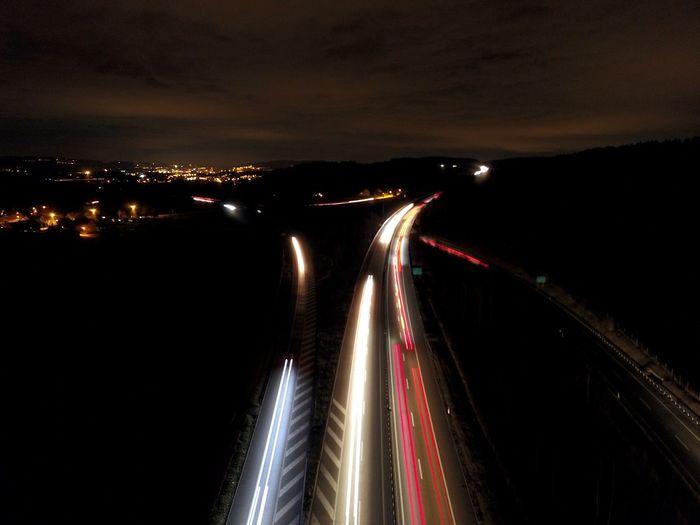 Illuminated Night Long Exposure Light Trail Motion Water Sky Road Light Headlight Transportation Speed No People