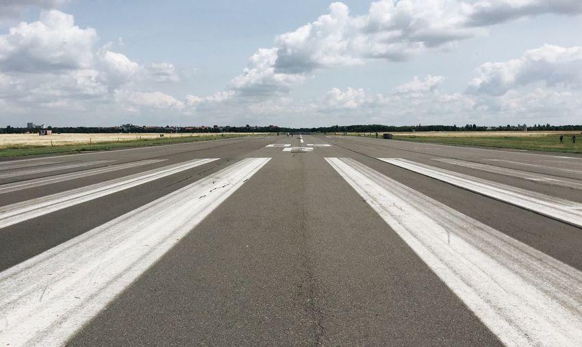 High angle view of airplane runway
