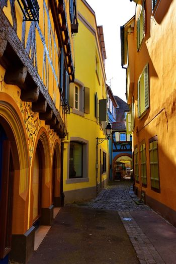 The path Architecture Building Exterior Built Structure Yellow Residential Building Travel Photography Travel Destination Window The Way Forward No People Outdoors Day Sky City Colmar, Alsace, France Ancient Architecture Travel Destinations Paint The Town Yellow