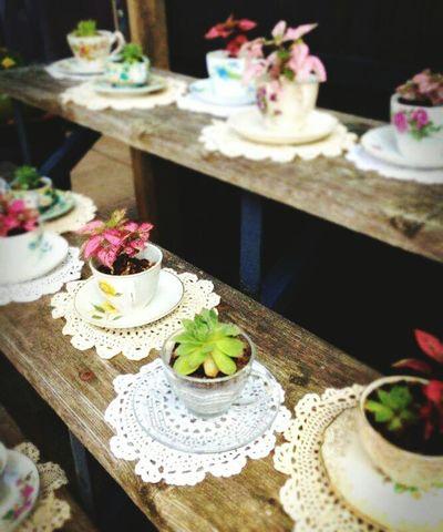 Vintage Teacups Flowers Wedding Shower