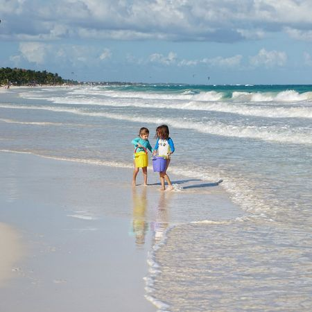 Kids Being Kids Kids Are Awesome Sea Beach Sand Child Vacations Fun Day Horizon Over Water Leisure Activity Water Tranquility Tulum , Rivera Maya. Gustobuenvivir Beachday17🌴🌞👙🌺 Kidsphotography Togetherness Mother Girls Bonding Family Walking Daughter Adult