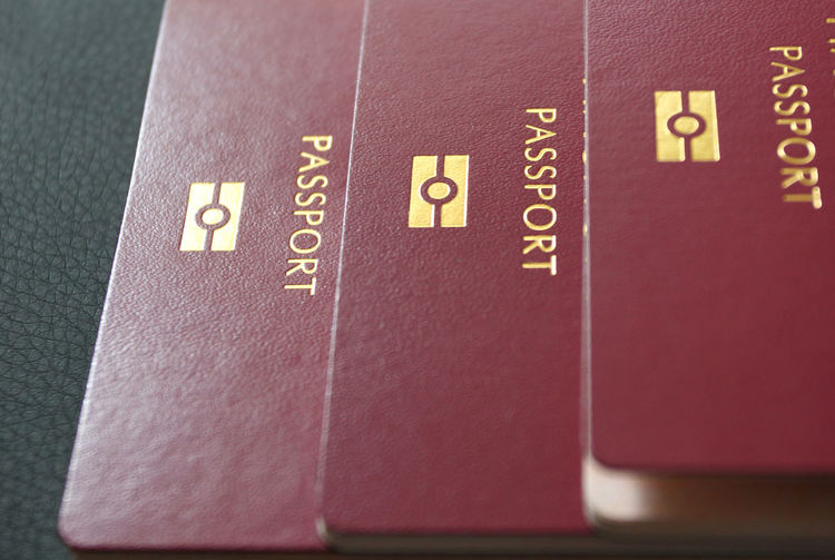 High angle view of passports on table