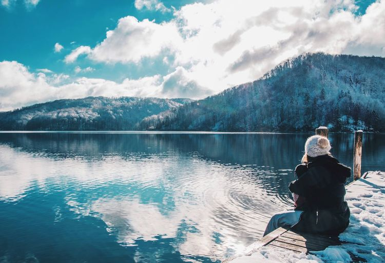 Croatia Winterscapes Wintertime Adventure Beauty In Nature Cloud - Sky Cold Days Lake Lake View Lakeside Leisure Activity Mountain Mountain Range Nature Plitvice National Park Reflection_collection Reflections Scenics Sitting Sky Tranquil Scene Tranquility Winter Wonderland