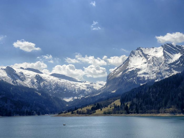 Scenic view of snowcapped mountains and lake against sky