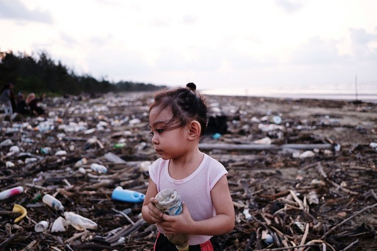 human error Humanerror End Plastic Pollution Child Childhood Girls Curly Hair Sky Landscape Shore