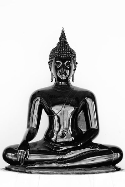 Blackandwhite Buddha Close-up No People Place Of Worship Religion Sculpture Statue White Background Black On White No Photoshop Sony A6000 Wat Po, Bangkok Black Buddha