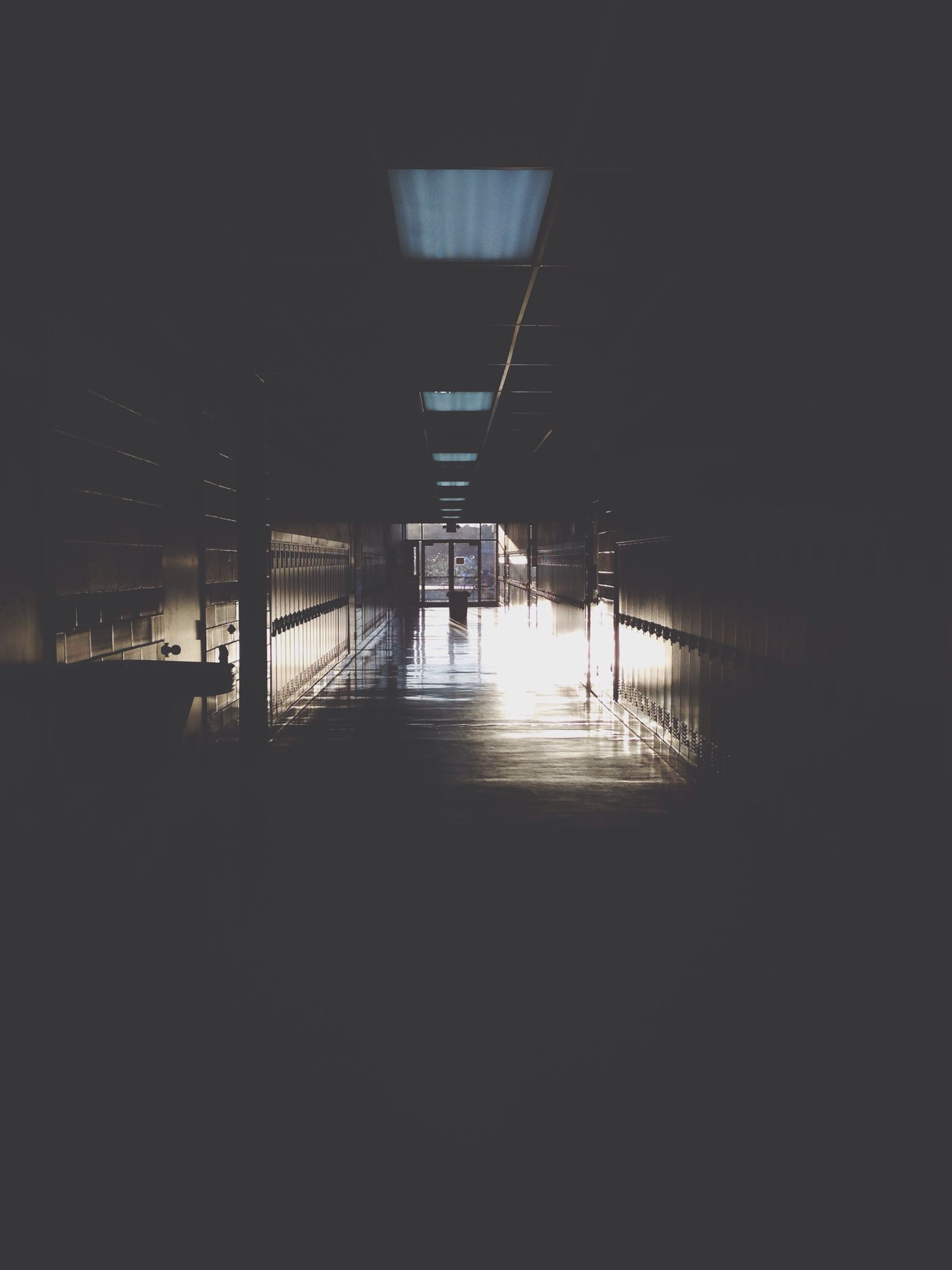 built structure, architecture, indoors, illuminated, dark, empty, night, silhouette, water, sunlight, reflection, sea, no people, absence, copy space, architectural column, the way forward, flooring, shadow, clear sky