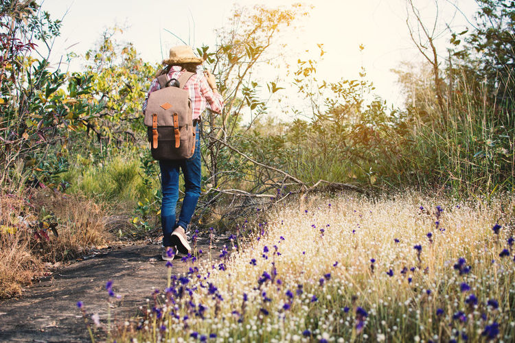 Rear view of woman with backpack walking on road amidst grass