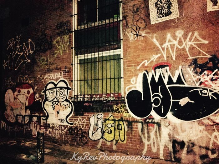 Life at Night: Alley Art Eye4photography  Learn & Shoot: After Dark IPhoneography NYC Photography Photography Is My Escape From Reality! KyRevPhotography Photographylovers NYC Iphonephotography Iphone6splus Manhattan Nightlifephotography Nightphotography Photography Wall Graffiti Artistic Life At Night Nightlife Taking Photos
