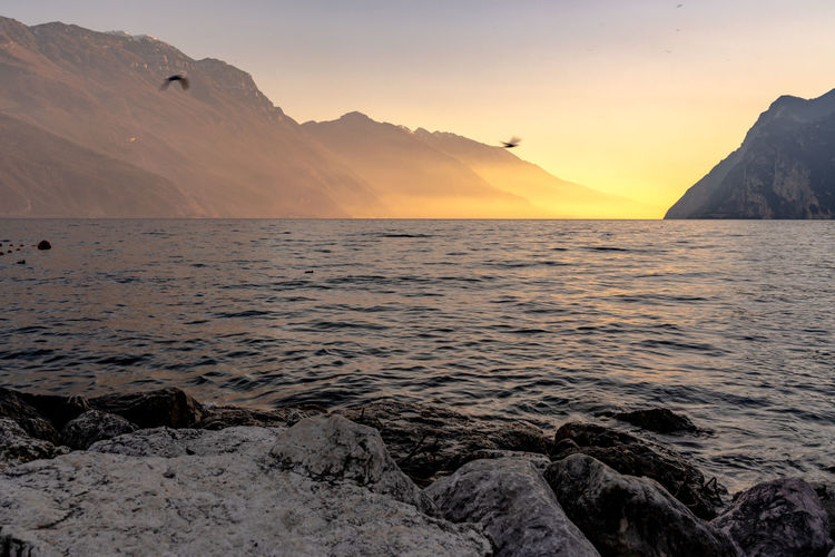 Panorama of the lake Garda during the sunset Water Sky Scenics - Nature Beauty In Nature Sunset Mountain Sea Tranquil Scene Tranquility Rock Solid Rock - Object Nature Idyllic No People Orange Color Non-urban Scene Mountain Range Remote Horizon Over Water Landscape Lake Lake Garda Travel Destinations Italy