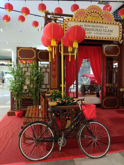 Chinese New year 2018 decorations at klia2,Malaysia. Chinese New Year ChineseNewYear2018 KLIA 2 Red Bicycle Architecture Transportation No People Day Outdoors