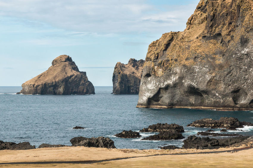 Heimaey Ice Rock Vestmannaeyjar Beach Beauty In Nature Elephant Island Land Nature Rock Rock - Object Rock Formation Scenics - Nature Sea Sky Stack Rock Tranquil Scene Tranquility Water
